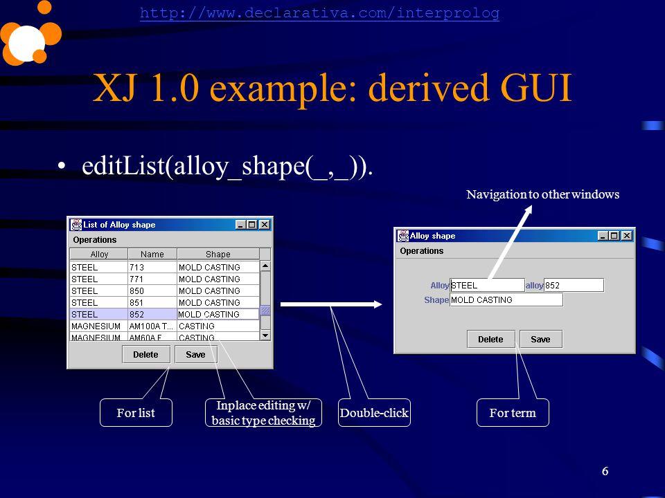 http://www.declarativa.com/interprolog 6 XJ 1.0 example: derived GUI editList(alloy_shape(_,_)). Double-click Inplace editing w/ basic type checking F