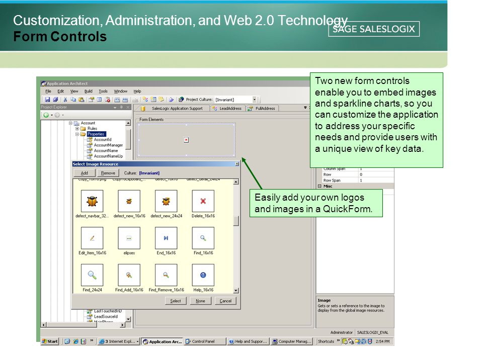 Customization, Administration, and Web 2.0 Technology Form Controls Two new form controls enable you to embed images and sparkline charts, so you can customize the application to address your specific needs and provide users with a unique view of key data.