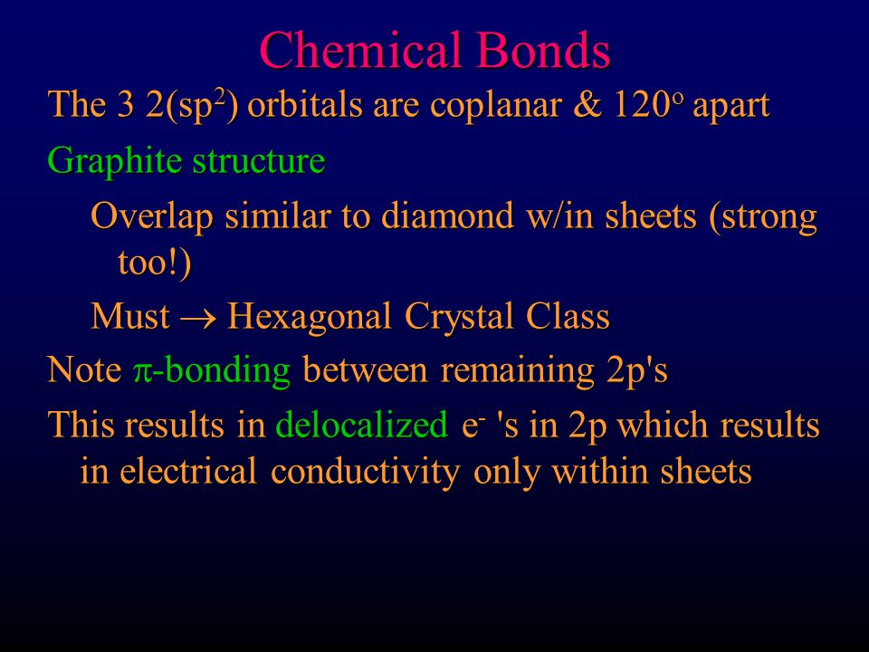 Chemical Bonds The 3 2(sp 2 ) orbitals are coplanar & 120 o apart Graphite structure Overlap similar to diamond w/in sheets (strong too!) Must  Hexag