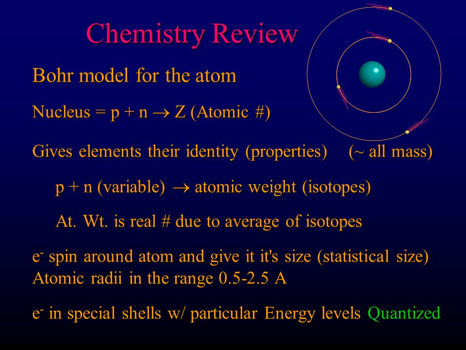 Chemistry Review Chemistry Review Bohr model for the atom Nucleus = p + n  Z (Atomic #) Gives elements their identity (properties) (~ all mass) p + n