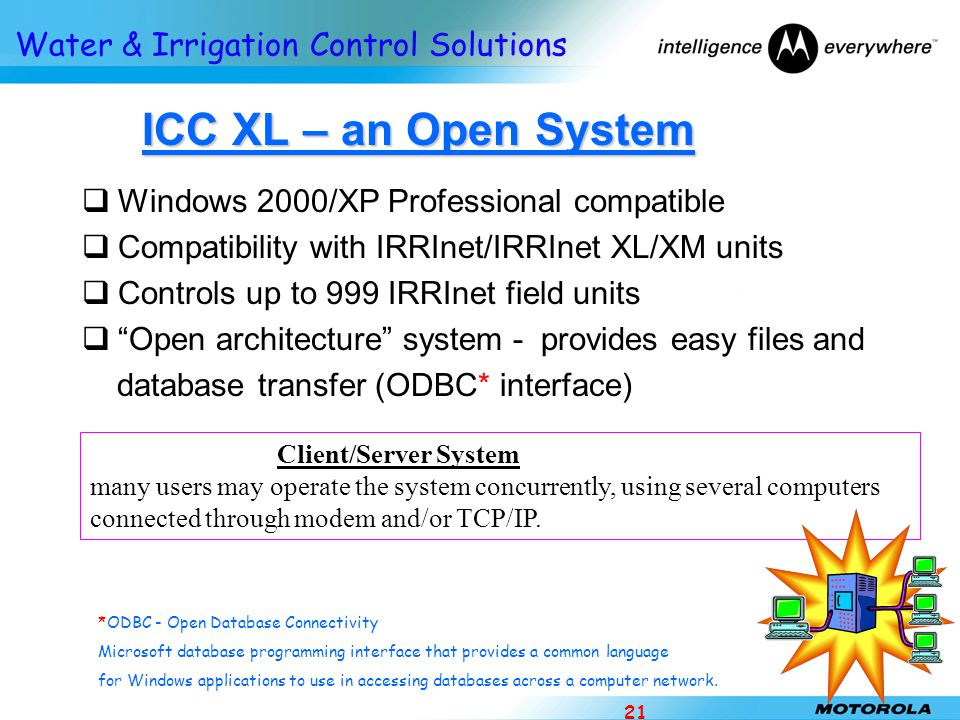 Water & Irrigation Control Solutions 21 ICC XL – an Open System ICC XL – an Open System  Windows 2000/XP Professional compatible  Compatibility with