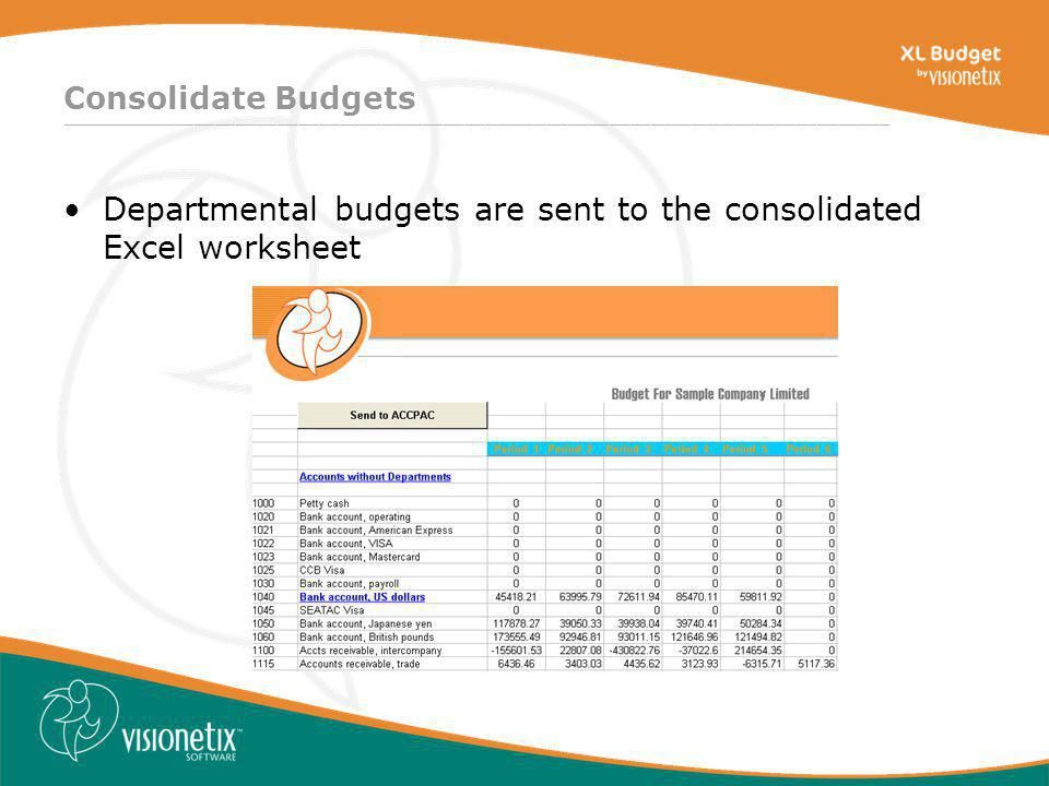 ________________________________________________________________________________ Consolidate Budgets Departmental budgets are sent to the consolidated Excel worksheet