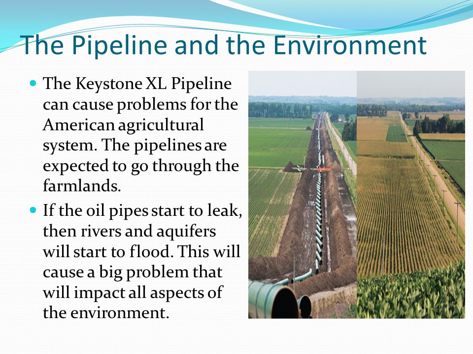 The Pipeline and the Environment The Keystone XL Pipeline can cause problems for the American agricultural system. The pipelines are expected to go th