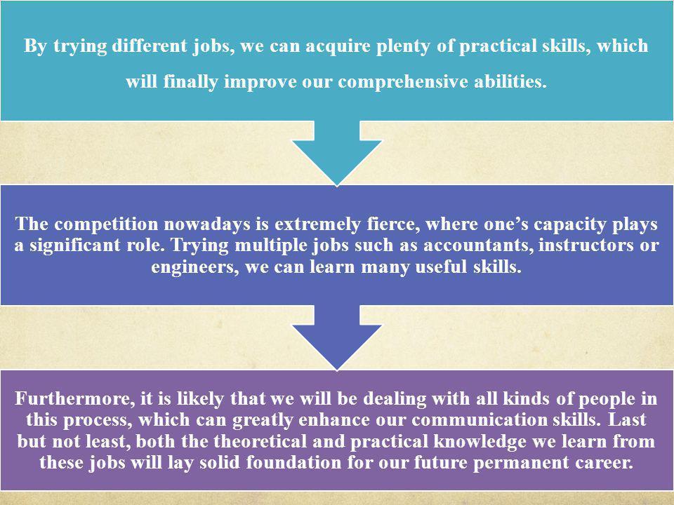 小马托福 010- 62699622 主体段一: It is very critical for them to start with several relatively simple jobs and gradually they can gain the abilities needed for a long-term career.