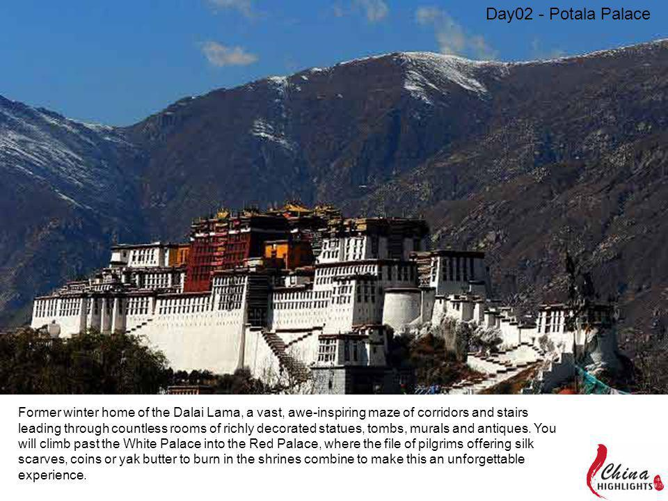 Former winter home of the Dalai Lama, a vast, awe-inspiring maze of corridors and stairs leading through countless rooms of richly decorated statues,