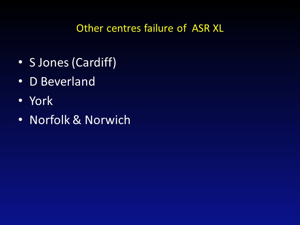 Other centres failure of ASR XL S Jones (Cardiff) D Beverland York Norfolk & Norwich