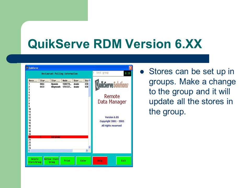 QuikServe RDM Version 6.XX System Databuilding functions like the registers.