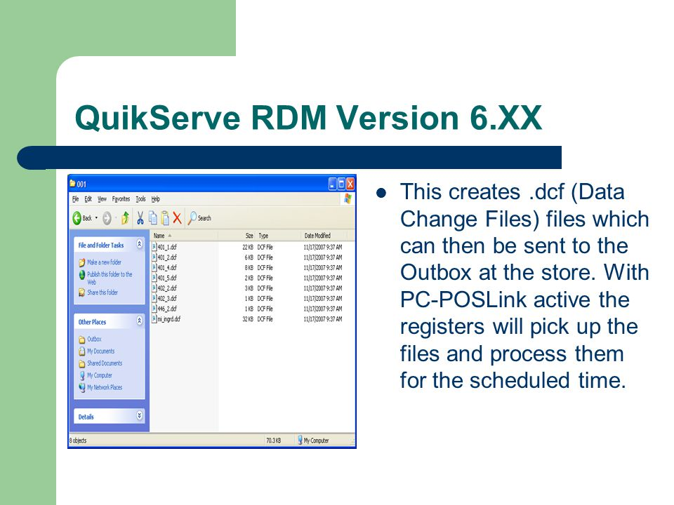 QuikServe RDM Version 6.XX Once your changes are complete the program will ask you when the change will take affect.
