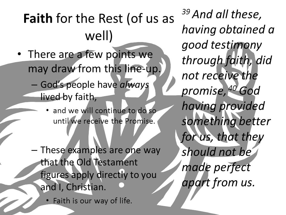 Faith for the Rest (of us as well) There are a few points we may draw from this line-up.