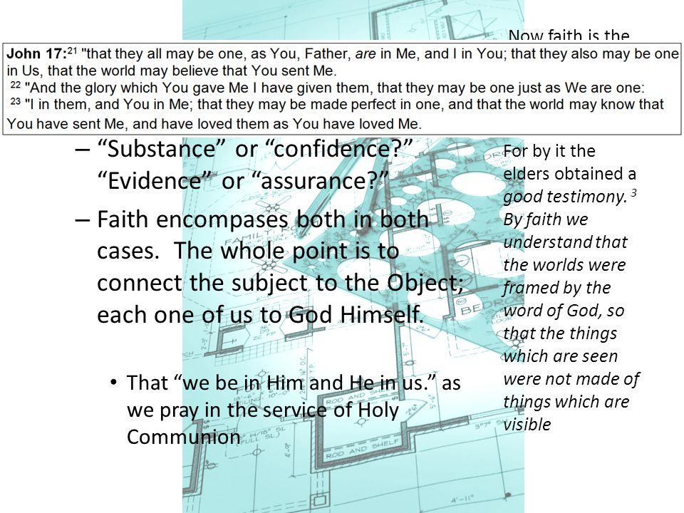 "Faith Defining ""Faith"" – ""Substance"" or ""confidence?"" ""Evidence"" or ""assurance?"" – Faith encompases both in both cases. The whole point is to connect"