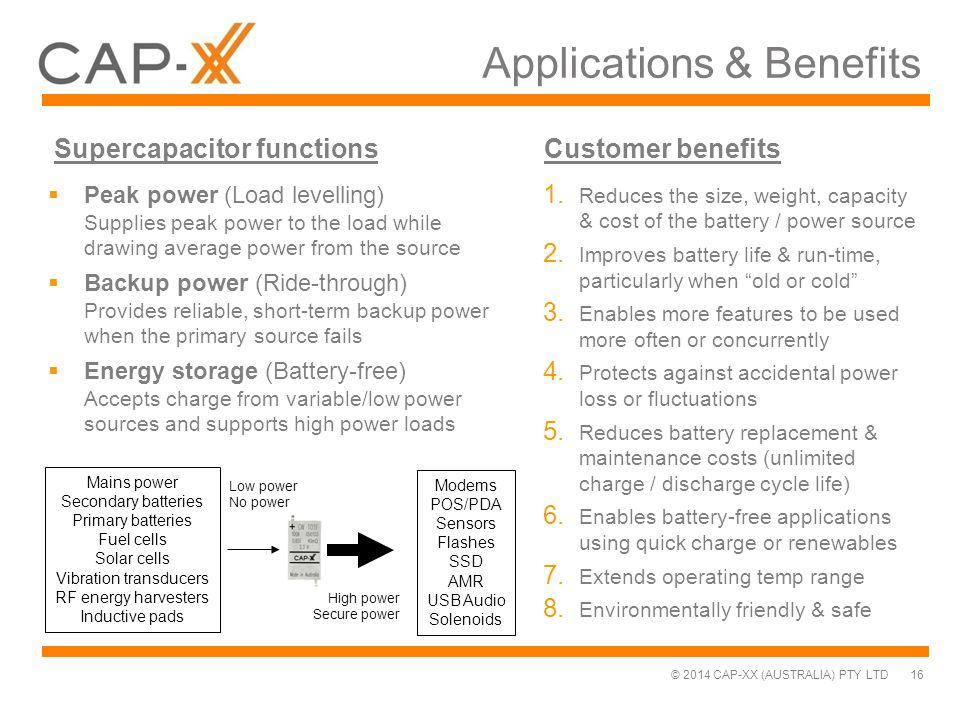 © 2014 CAP-XX (AUSTRALIA) PTY LTD Applications & Benefits 16 Low power No power High power Secure power Supercapacitor functionsCustomer benefits Main