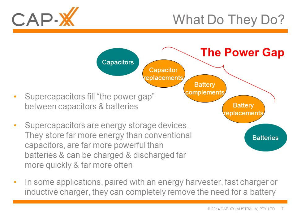 """© 2014 CAP-XX (AUSTRALIA) PTY LTD What Do They Do? 7 Supercapacitors fill """"the power gap"""" between capacitors & batteries Batteries Battery replacement"""
