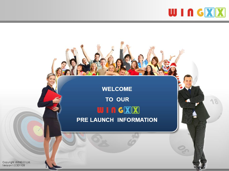 WELCOME TO OUR PRE LAUNCH INFORMATION Copyright WINGXX Ltd. Version 1.0 301109