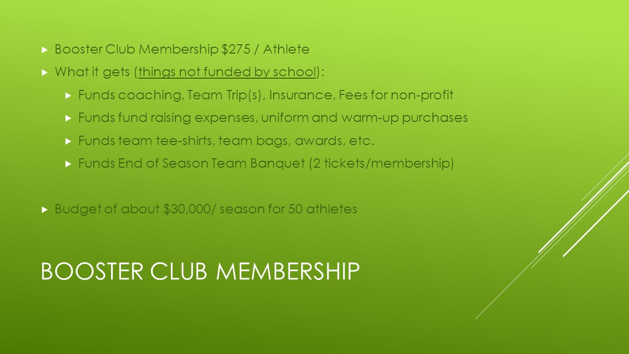 BOOSTER CLUB MEMBERSHIP  Booster Club Membership $275 / Athlete  What it gets (things not funded by school):  Funds coaching, Team Trip(s), Insurance, Fees for non-profit  Funds fund raising expenses, uniform and warm-up purchases  Funds team tee-shirts, team bags, awards, etc.