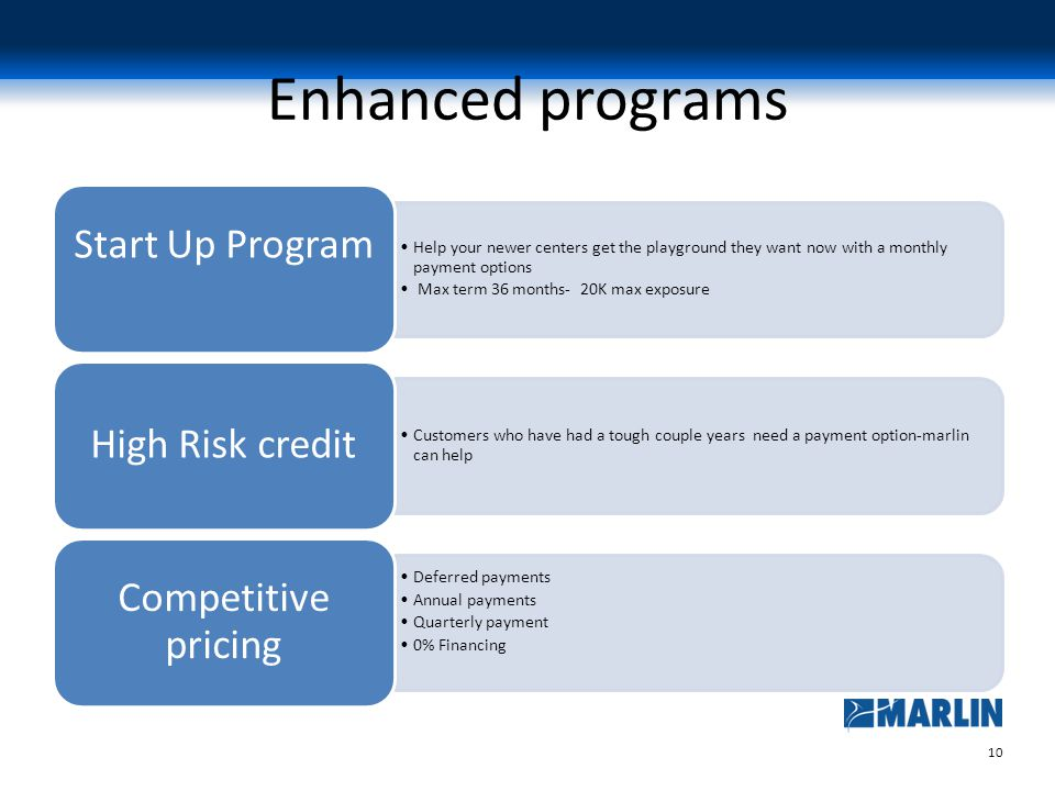 10 Enhanced programs Help your newer centers get the playground they want now with a monthly payment options Max term 36 months- 20K max exposure Start Up Program Customers who have had a tough couple years need a payment option-marlin can help High Risk credit Deferred payments Annual payments Quarterly payment 0% Financing Competitive pricing