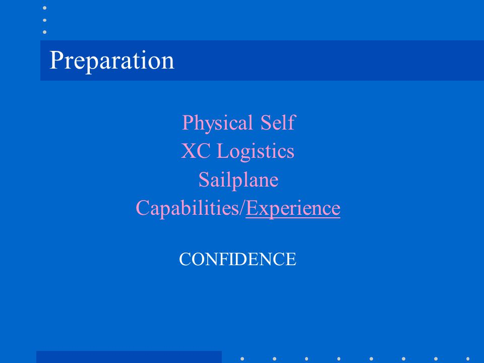 Preparation Physical Self XC Logistics Sailplane Capabilities/Experience CONFIDENCE