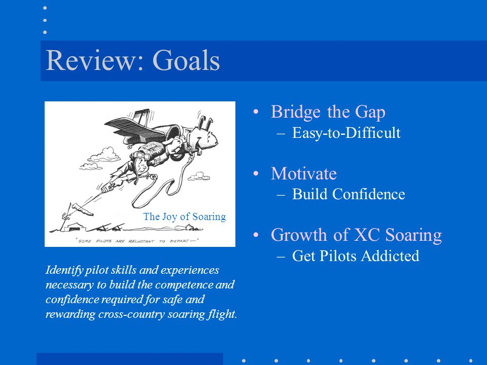 Review: Goals Bridge the Gap –Easy-to-Difficult Motivate –Build Confidence Growth of XC Soaring –Get Pilots Addicted Identify pilot skills and experie
