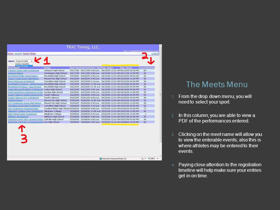 The Meets Menu 1. From the drop down menu, you will need to select your sport. 2. In this column, you are able to view a PDF of the performances enter