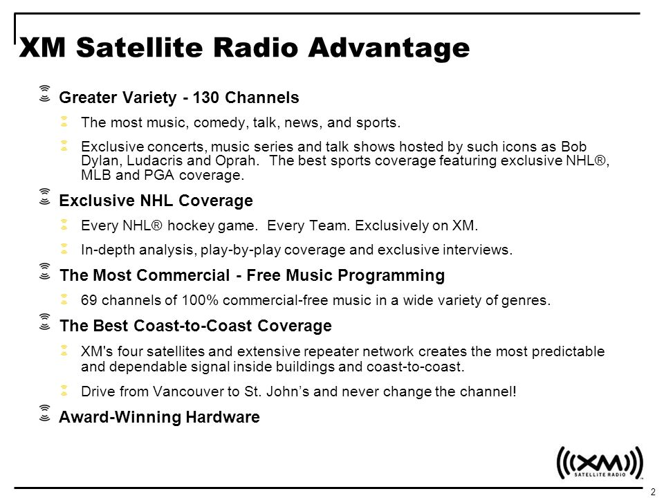 3 XM Advantage – 130 Channels of the most music, talk, news & sports THE MOST MUSIC THE MOST SPORTS THE MOST CANADIAN CONTENT THE BEST IN NEWS, TALK, & COMEDY