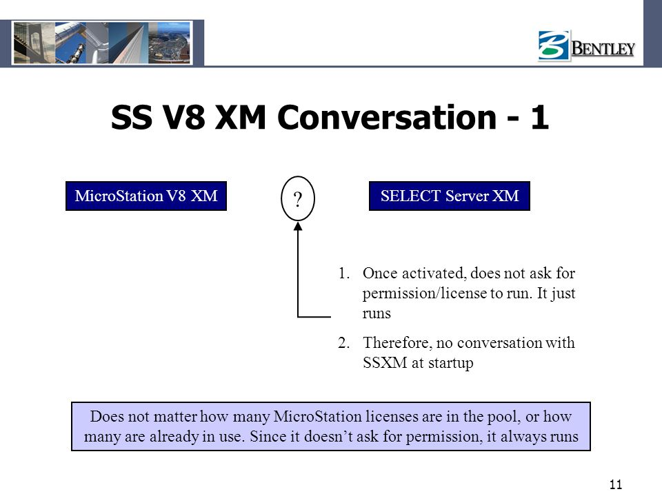 11 SS V8 XM Conversation - 1 MicroStation V8 XMSELECT Server XM 1.Once activated, does not ask for permission/license to run. It just runs 2.Therefore