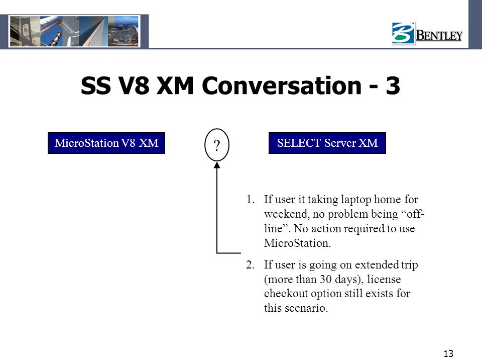 "13 SS V8 XM Conversation - 3 MicroStation V8 XMSELECT Server XM 1.If user it taking laptop home for weekend, no problem being ""off- line"". No action r"
