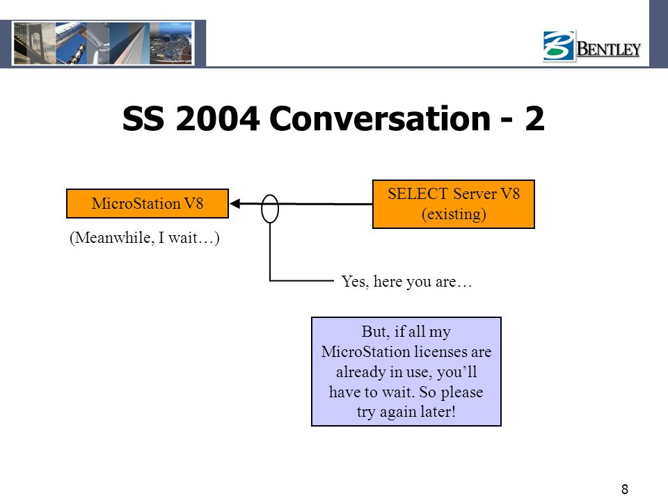 8 SS 2004 Conversation - 2 MicroStation V8 SELECT Server V8 (existing) Yes, here you are… (Meanwhile, I wait…) But, if all my MicroStation licenses ar