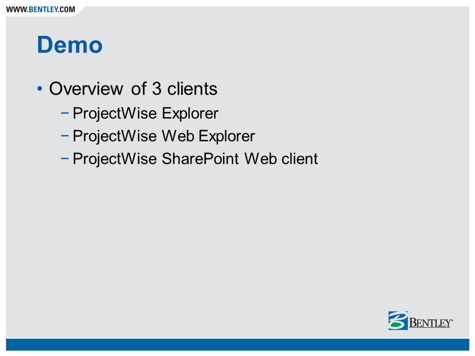 Demo Overview of 3 clients −ProjectWise Explorer −ProjectWise Web Explorer −ProjectWise SharePoint Web client