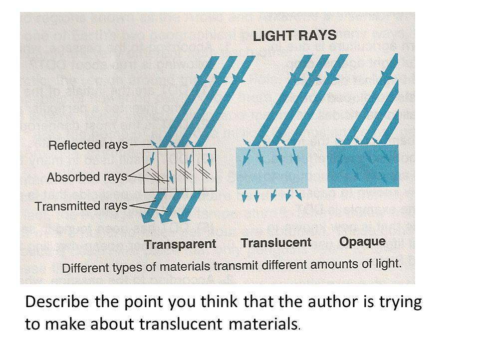 Describe the point you think that the author is trying to make about translucent materials.
