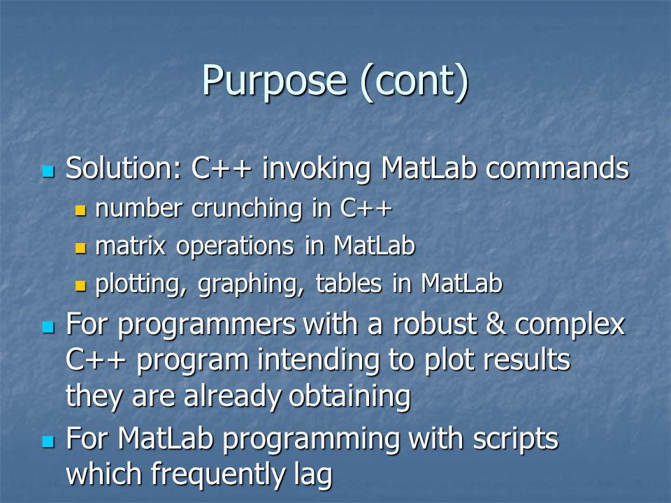 Purpose (cont) Solution: C++ invoking MatLab commands Solution: C++ invoking MatLab commands number crunching in C++ number crunching in C++ matrix op