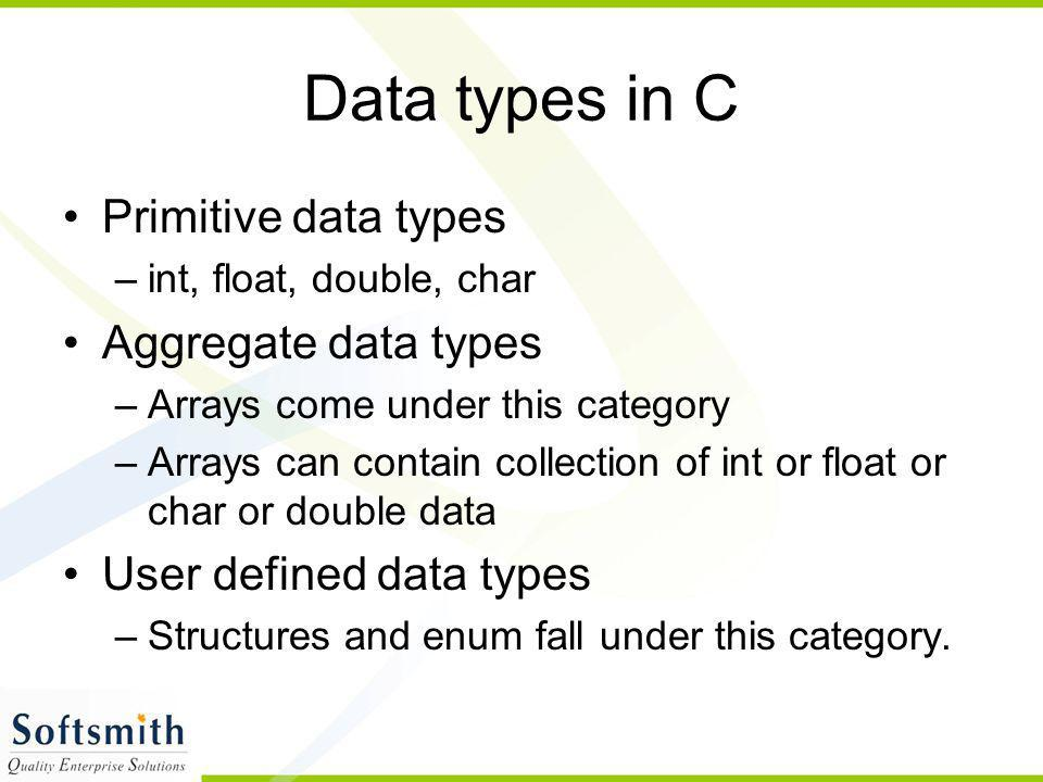 Variables Variables are data that will keep on changing Declaration > >; int a; Definition >= >; a=10; Usage > a=a+1;//increments the value of a by 1