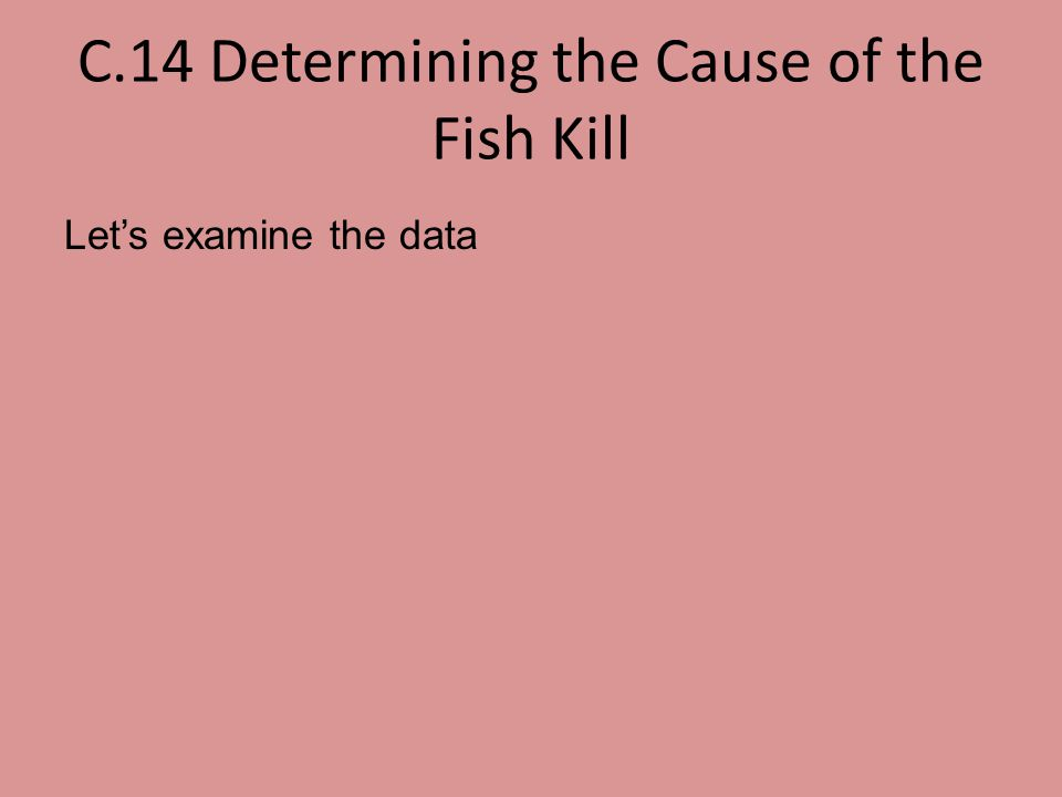 C.14 Determining the Cause of the Fish Kill Let's examine the data