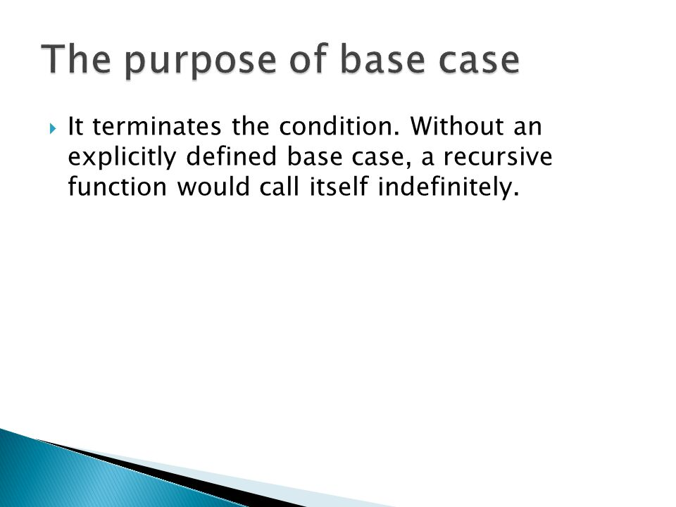  It terminates the condition. Without an explicitly defined base case, a recursive function would call itself indefinitely.