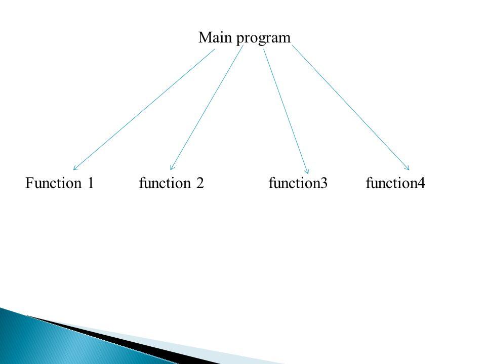 Main program Function 1 function 2 function3 function4