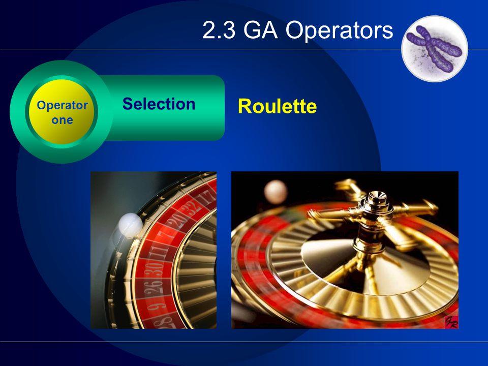 2.3 GA Operators Selection Operator one Roulette