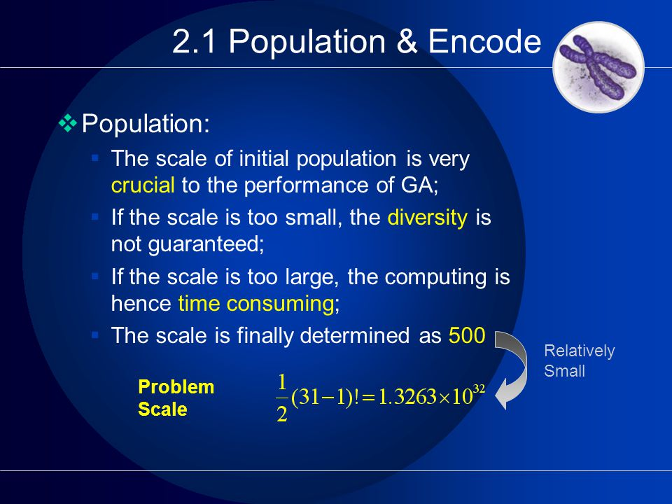 2.1 Population & Encode  Population:  The scale of initial population is very crucial to the performance of GA;  If the scale is too small, the diversity is not guaranteed;  If the scale is too large, the computing is hence time consuming;  The scale is finally determined as 500 Problem Scale Relatively Small