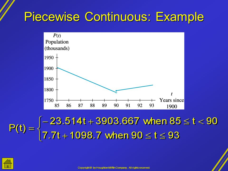 Copyright © by Houghton Mifflin Company, All rights reserved. Piecewise Continuous: Example