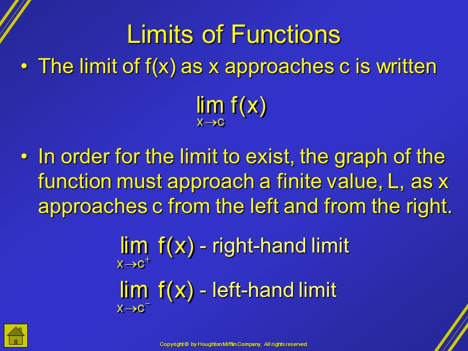 Copyright © by Houghton Mifflin Company, All rights reserved. Limits of Functions The limit of f(x) as x approaches c is writtenThe limit of f(x) as x