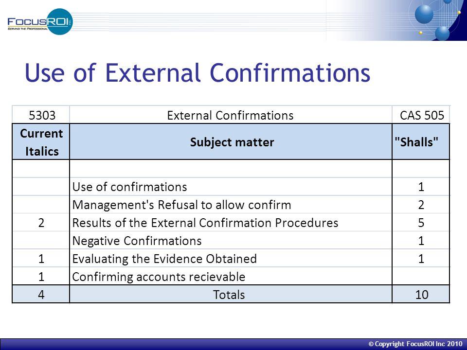 © Copyright FocusROI Inc 2010 Use of External Confirmations