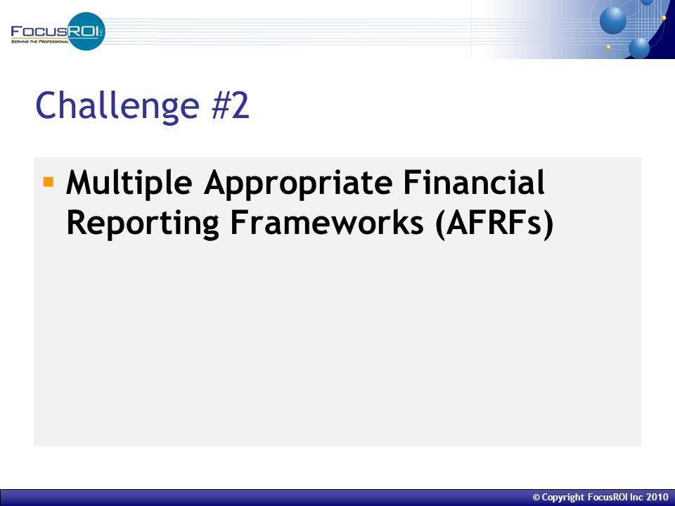 © Copyright FocusROI Inc 2010 Challenge #2  Multiple Appropriate Financial Reporting Frameworks (AFRFs)
