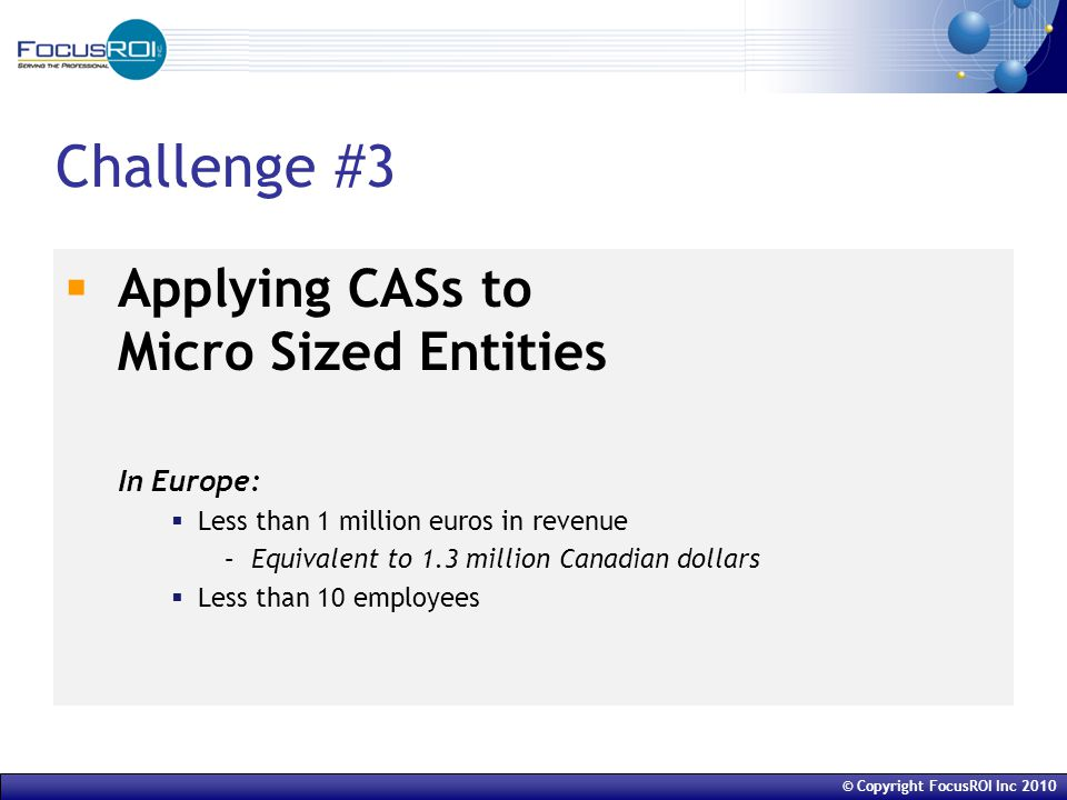 © Copyright FocusROI Inc 2010 Challenge #3  Applying CASs to Micro Sized Entities In Europe:  Less than 1 million euros in revenue –Equivalent to 1.3 million Canadian dollars  Less than 10 employees