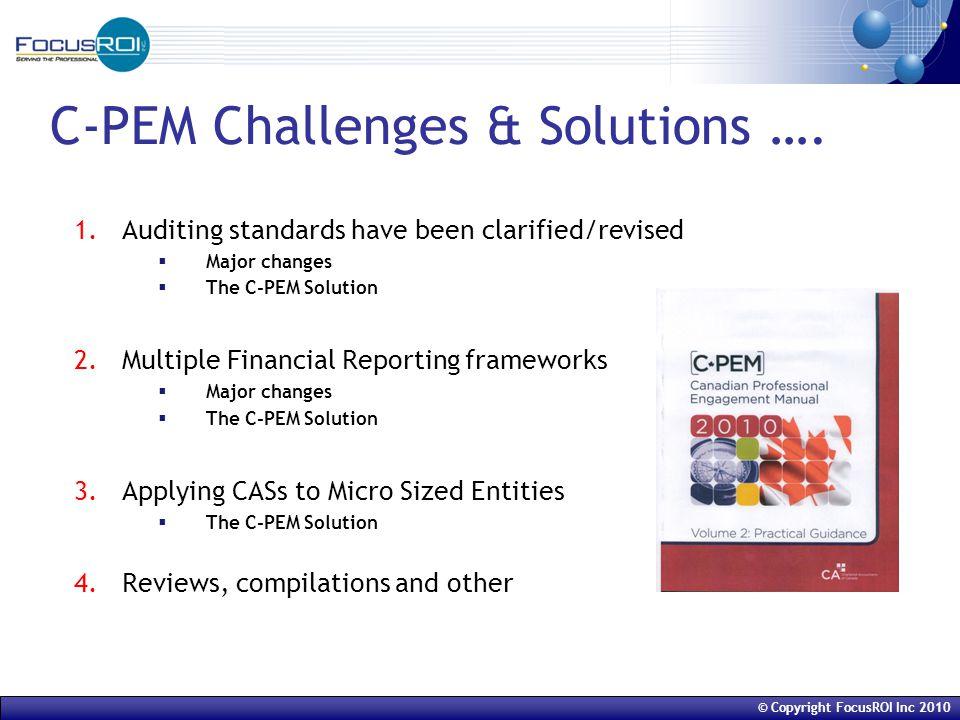 © Copyright FocusROI Inc 2010 C-PEM overview of Estimates