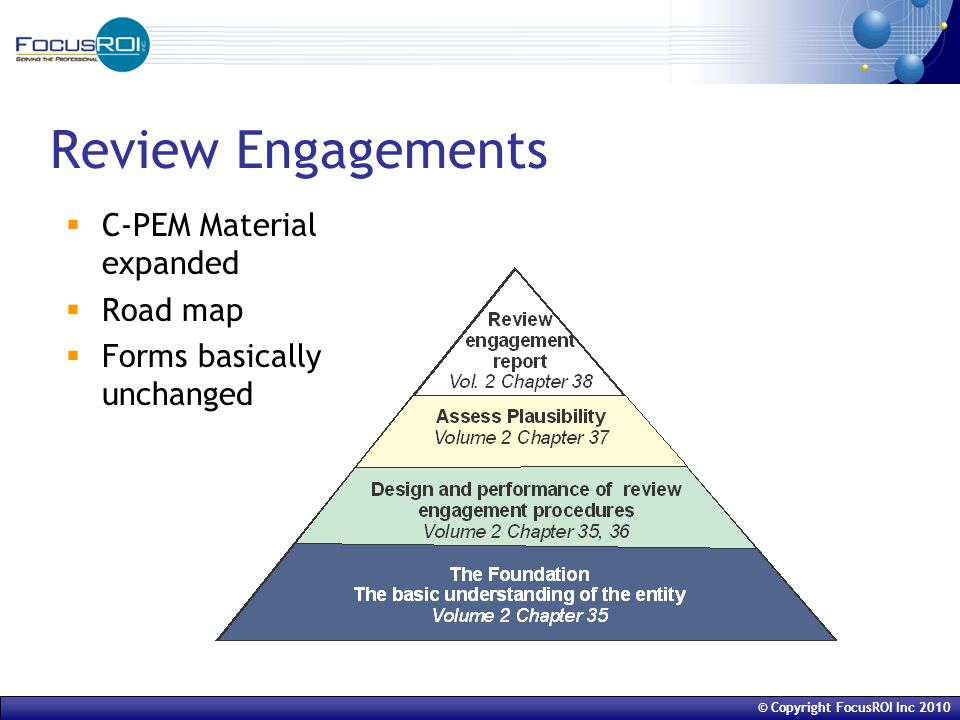© Copyright FocusROI Inc 2010 Review Engagements  C-PEM Material expanded  Road map  Forms basically unchanged