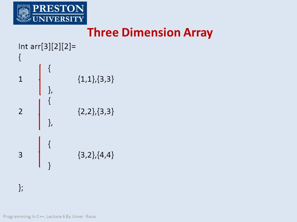 Three Dimension Array Programming In C++, Lecture 6 By Umer Rana Int arr[3][2][2]= { 1{1,1},{3,3} }, { 2{2,2},{3,3} }, { 3{3,2},{4,4} } };
