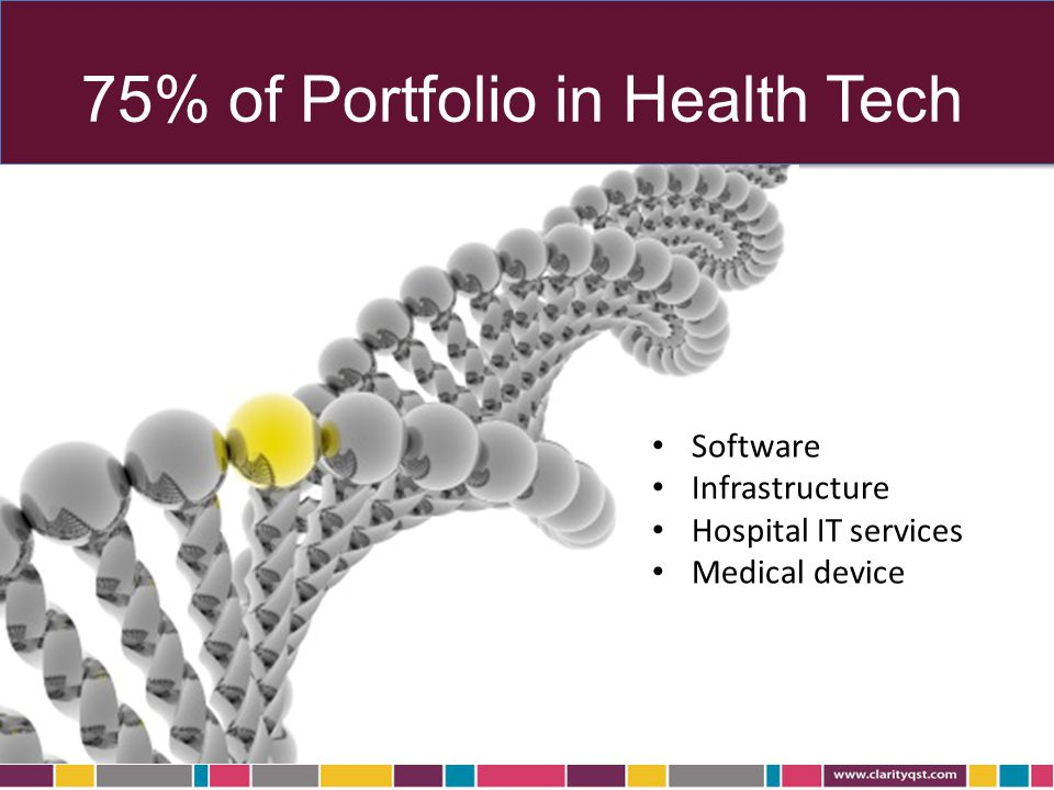 75% of Portfolio in Health Tech Software Infrastructure Hospital IT services Medical device