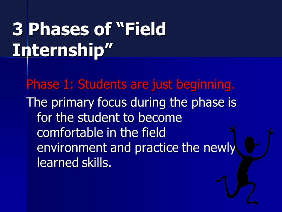 3 Phases of Field Internship Phase 1: Students are just beginning.