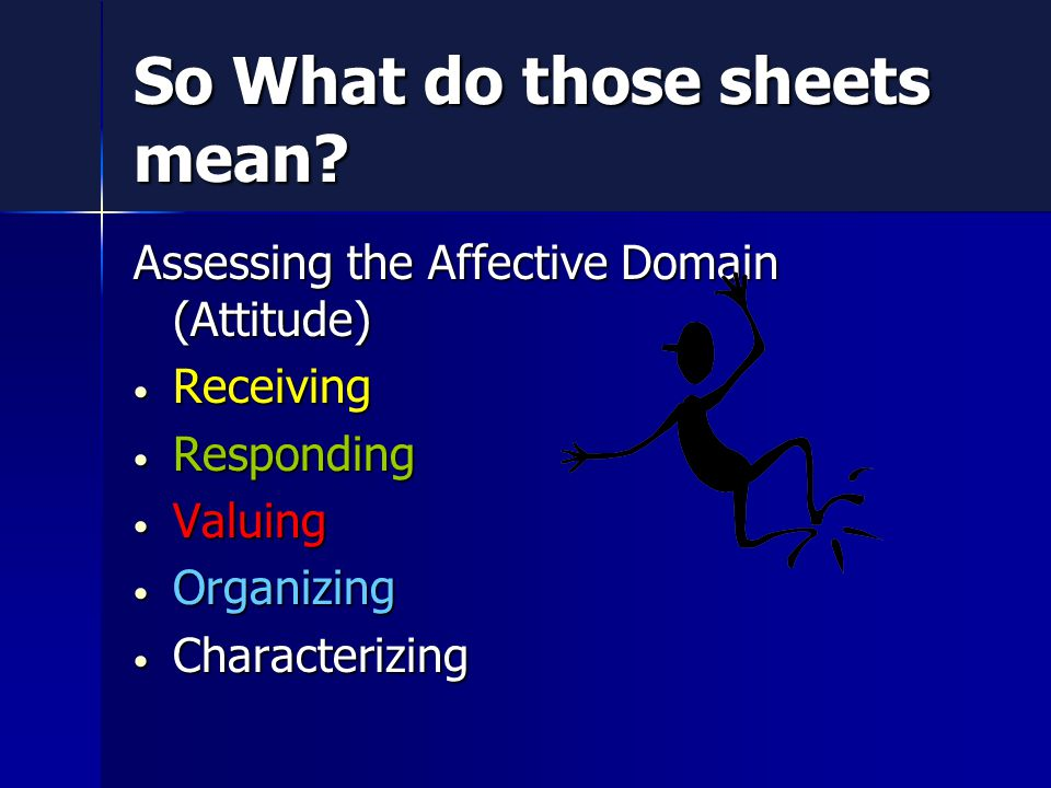 Assessing the Affective Domain (Attitude) Receiving Receiving Responding Responding Valuing Valuing Organizing Organizing Characterizing Characterizing So What do those sheets mean
