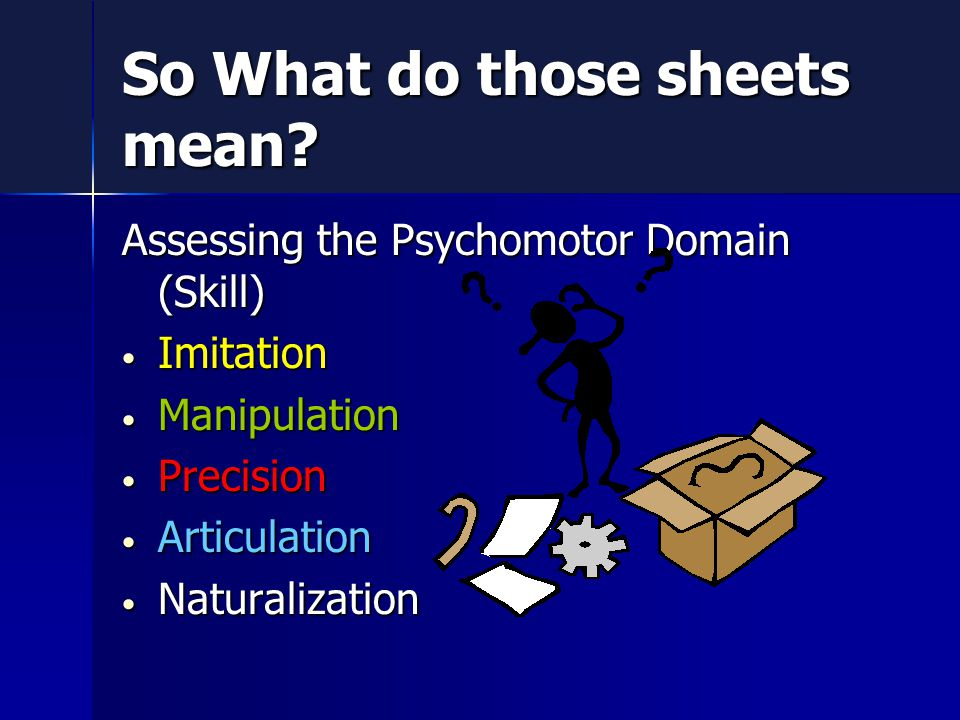 Assessing the Psychomotor Domain (Skill) Imitation Imitation Manipulation Manipulation Precision Precision Articulation Articulation Naturalization Naturalization So What do those sheets mean
