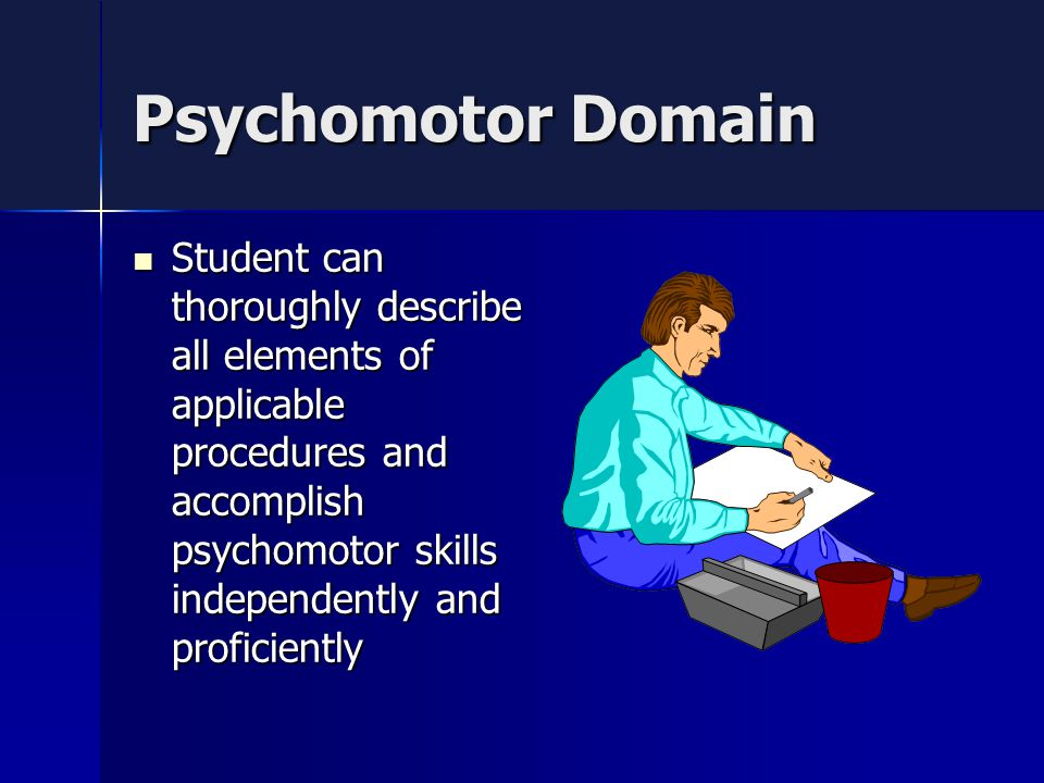 Psychomotor Domain Student can thoroughly describe all elements of applicable procedures and accomplish psychomotor skills independently and proficiently Student can thoroughly describe all elements of applicable procedures and accomplish psychomotor skills independently and proficiently