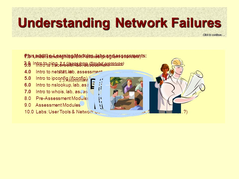 Understanding Network Failures 1.0 Understanding Network Failures (program overview) 2.0 Intro to ping 2.1 Usage Intro (Strybd prototype) 2.2 Lab 2.3 Assessment Plus addt'l e-Learning Modules, labs and assessments: 3.0 Intro to traceroute, lab, assessment 4.0 Intro to netstat, lab, assessment 5.0 Intro to ipconfig (ifconfig), lab, assessment 6.0 Intro to nslookup, lab, assessment 7.0 Intro to whois, lab, assessment 8.0 Pre-Assessment Modules (pre-tests for each module) 9.0 Assessment Modules 10.0 Labs: User Tools & Network Utilities (telnet short-cuts, PCHAR/TTCP,…?)