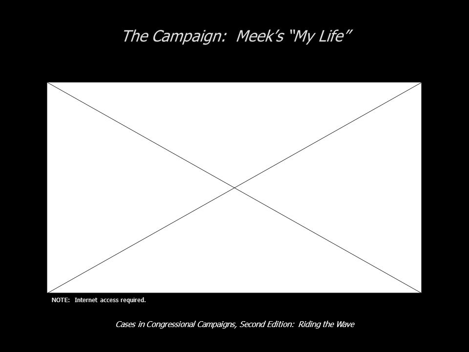 Cases in Congressional Campaigns, Second Edition: Riding the Wave The Campaign: Meek's My Life NOTE: Internet access required.